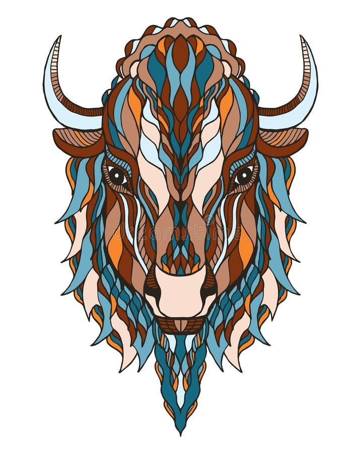 Le zentangle principal de bison a stylisé, dirige, illustration, pe à main levée illustration libre de droits