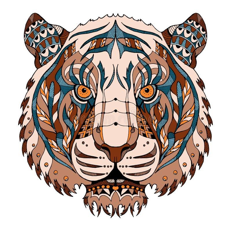 Le zentangle principal de tigre a stylisé, dirige, illustration, le modèle, franc illustration stock