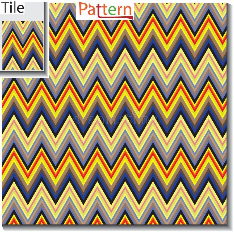 Le zigzag et la rayure rayent la tuile avec le modèle témoin Illustra de vecteur illustration stock