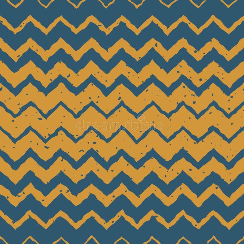 Le zigzag tramé de gradient horizontal tiré par la main jaune bleu sans couture de couleur de vecteur tordu raye le modèle ethniq illustration libre de droits