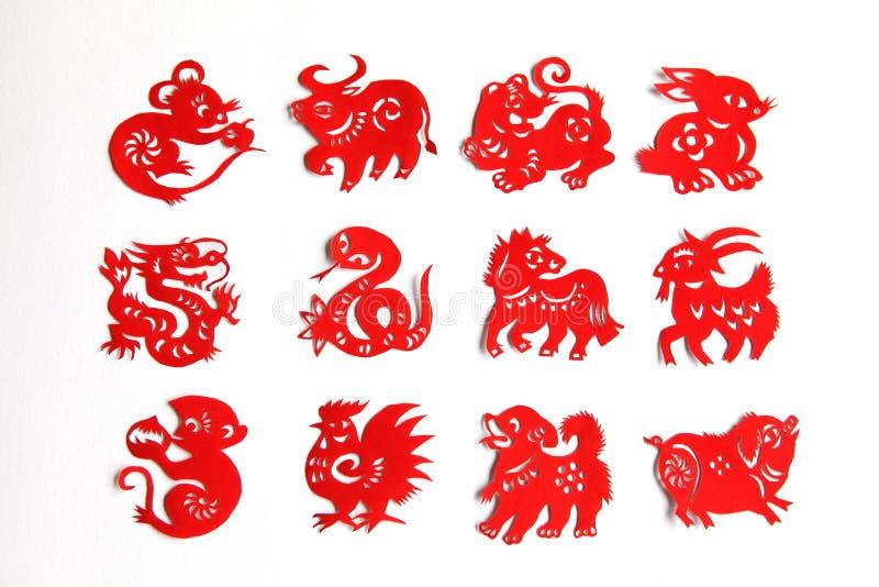 Le zodiaque chinois, 12 animaux de zodiaque, papercutting chinois photo stock