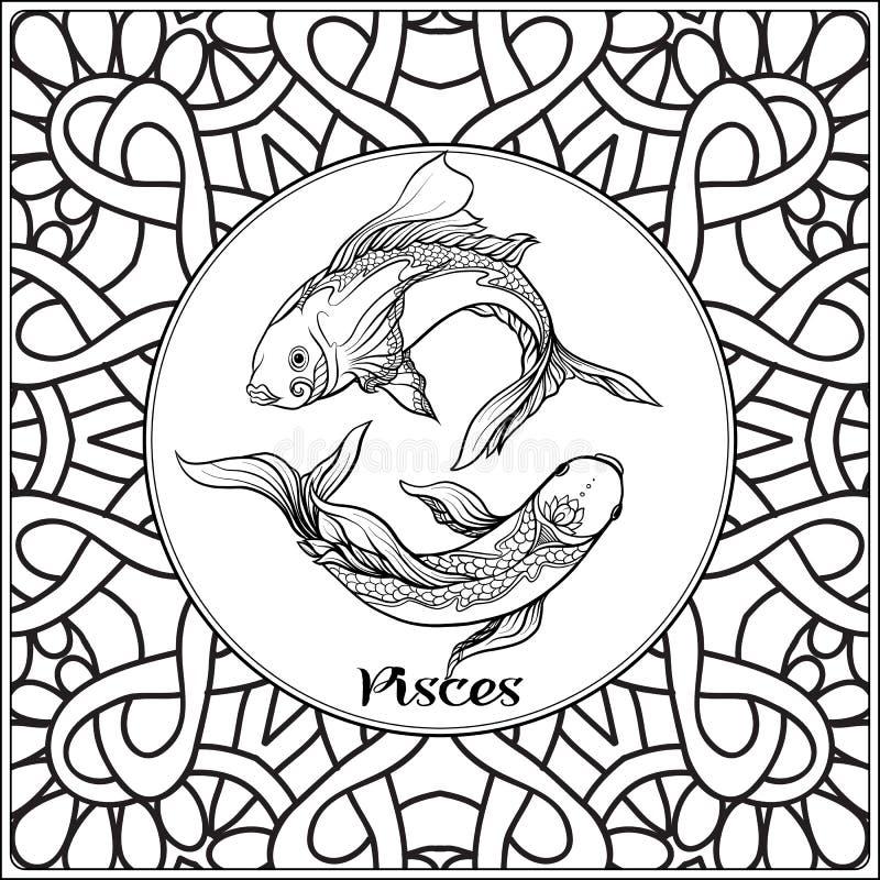 Le zodiaque décoratif se connectent le fond de modèle illustration de vecteur