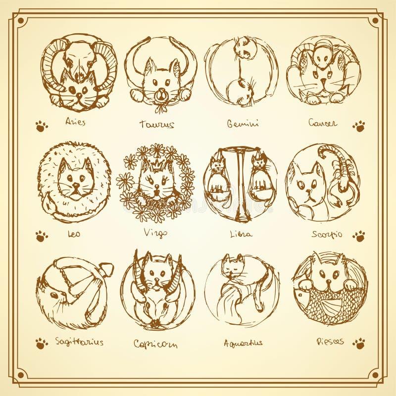 Le zodiaque de chats de croquis signe dedans le style de vintage illustration de vecteur