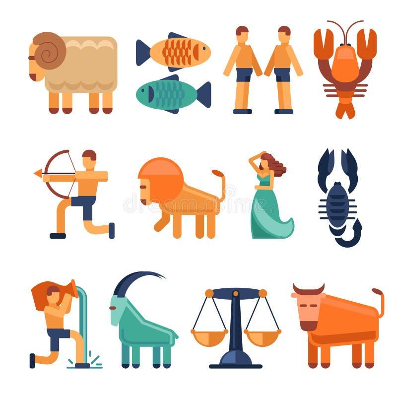 Le zodiaque signe dedans le style plat et les icônes ou les symboles astrologiques d'horoscope illustration stock
