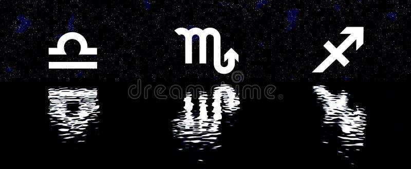le zodiaque 12 signe plus de l'ensemble d'horoscope de l'eau illustration stock