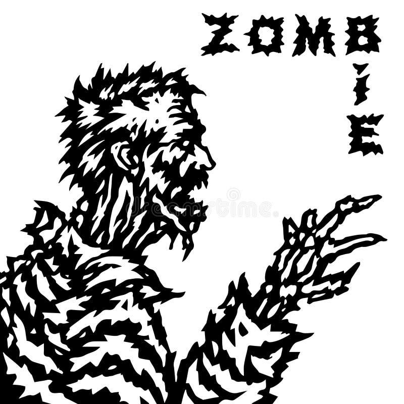 Le zombi étire sa main à sa victime et grondements Illustration de vecteur illustration de vecteur
