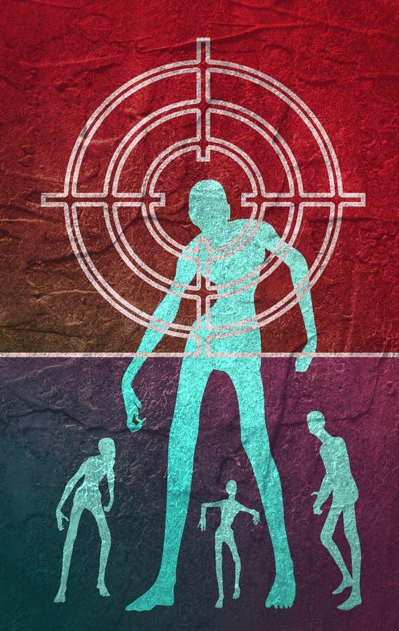 Le zombi entre dans la maison illustration libre de droits