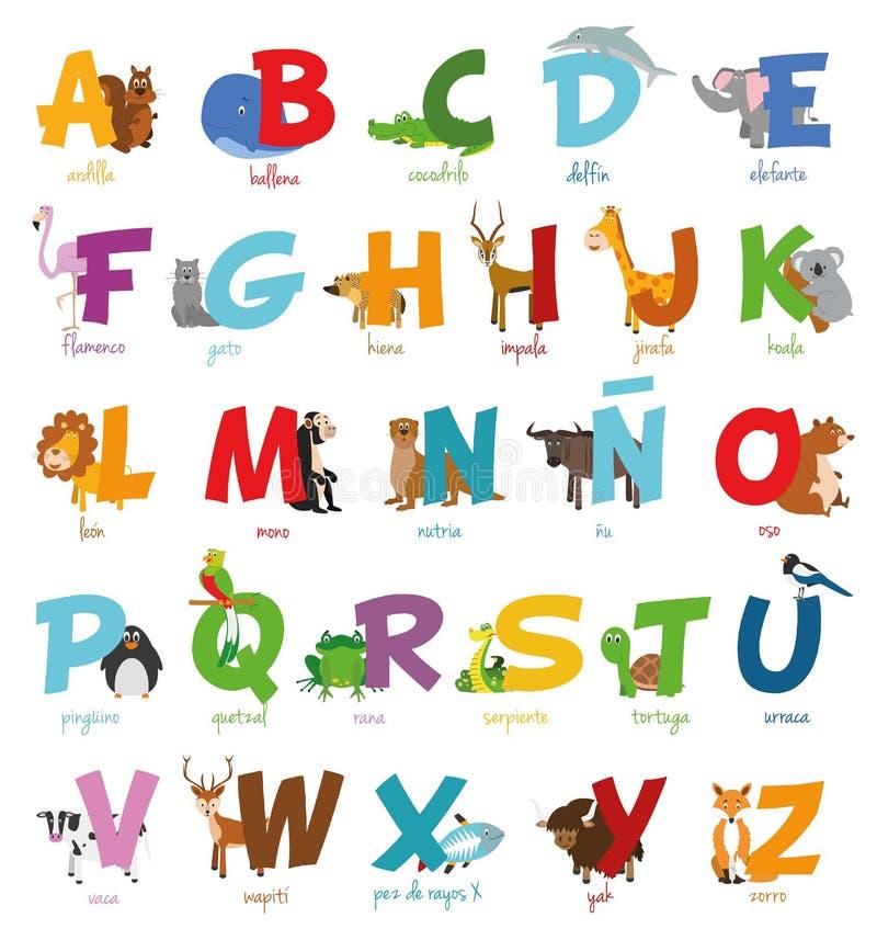 Le zoo mignon de bande dessinée a illustré l'alphabet avec les animaux drôles Alphabet espagnol illustration de vecteur