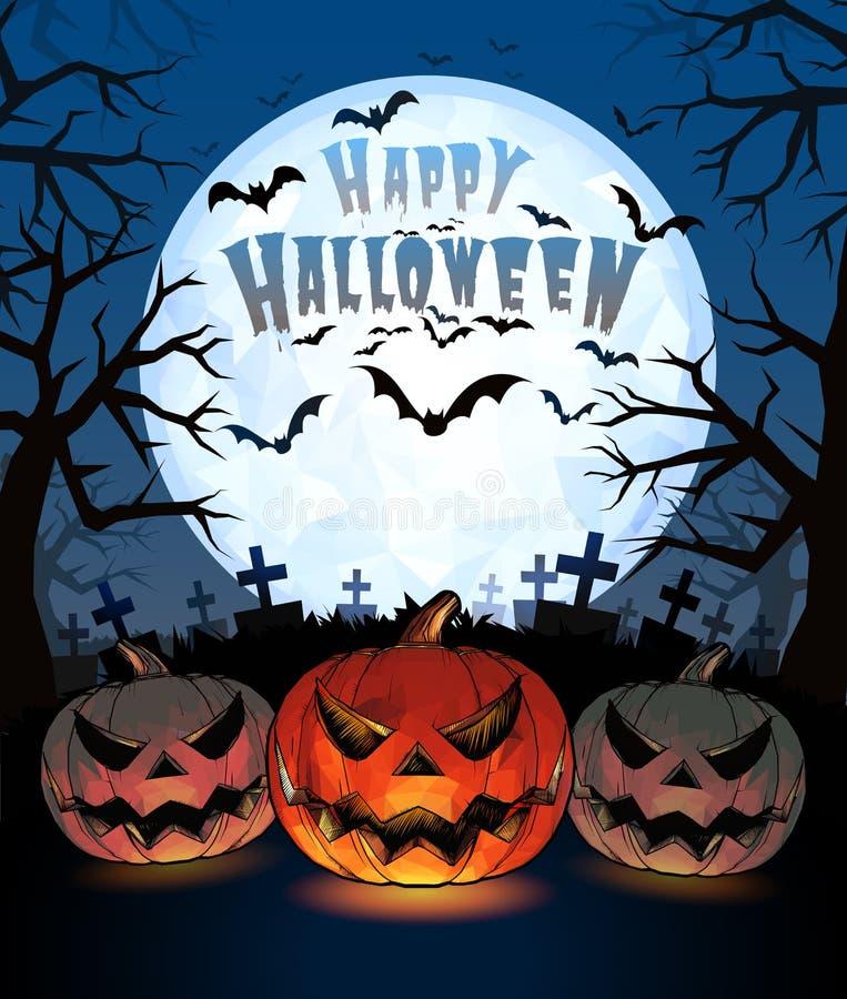 Le zucche di Halloween sollevano la lanterna ed il cimitero con il crick di oscurità sulla m. completa illustrazione vettoriale