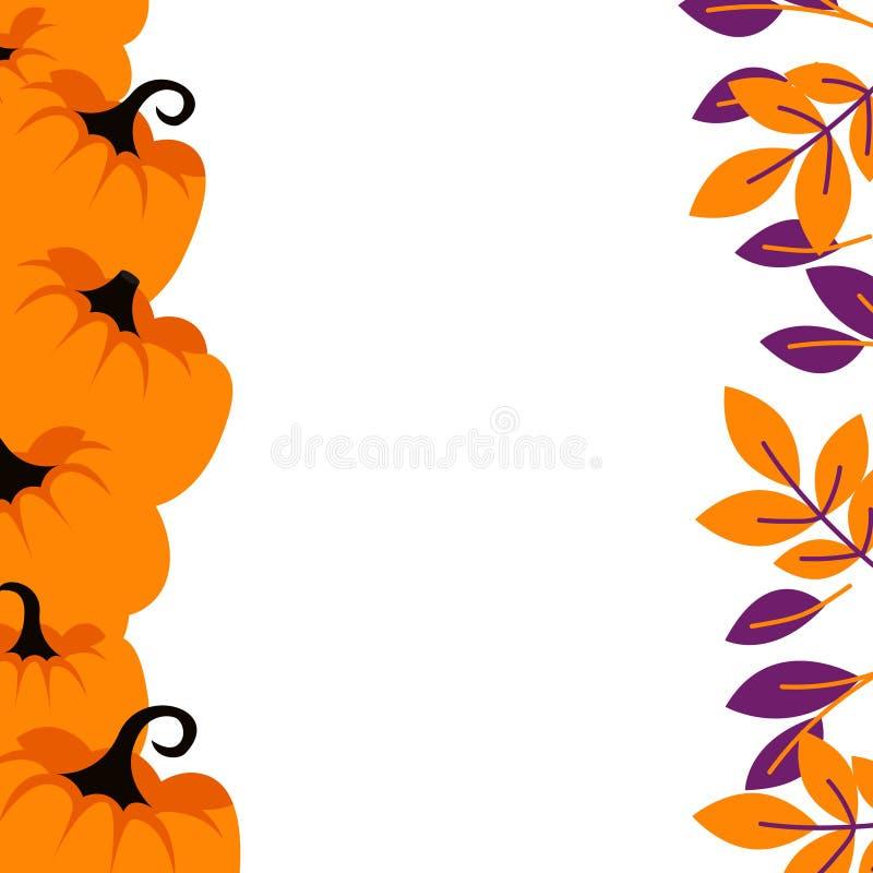 Le zucche porpora sul fondo arancio del confine cardano il modello royalty illustrazione gratis