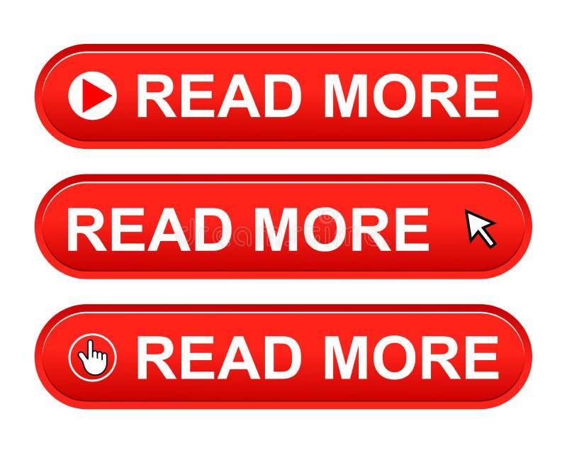 Lea más botón stock de ilustración