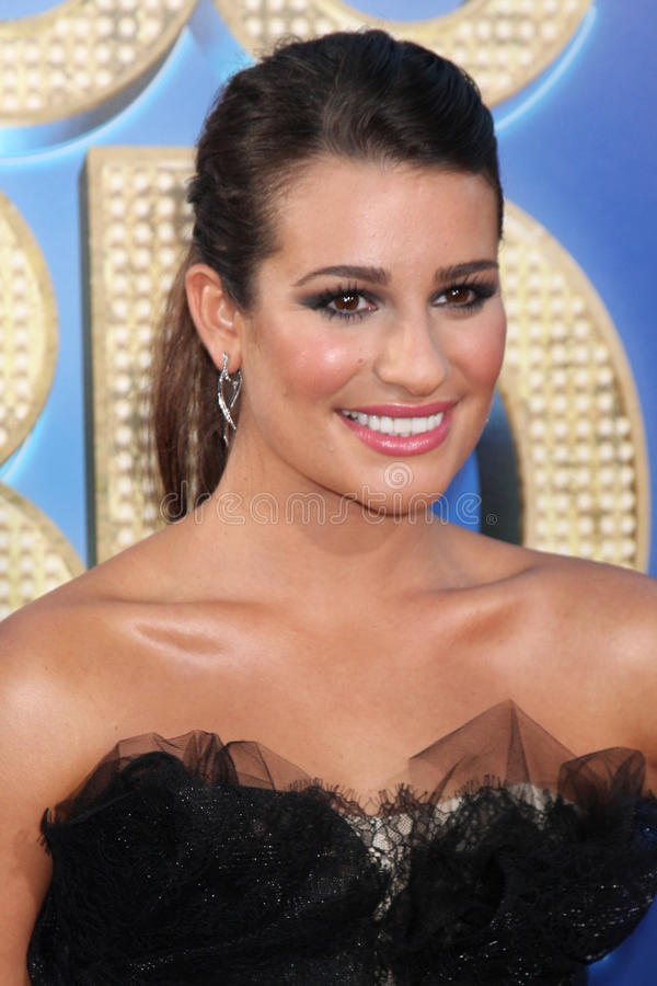 Lea Michele. LOS ANGELES - AUG 6: Lea Michele arriving at the Glee The 3D Concert Movie at Regency Village Theater on August 6, 2011 in Westwood, CA royalty free stock photography