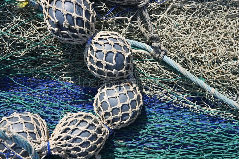 Lead balls fishing trawler net tackle stock photos