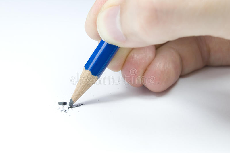 Lead breaking in pencil stock image