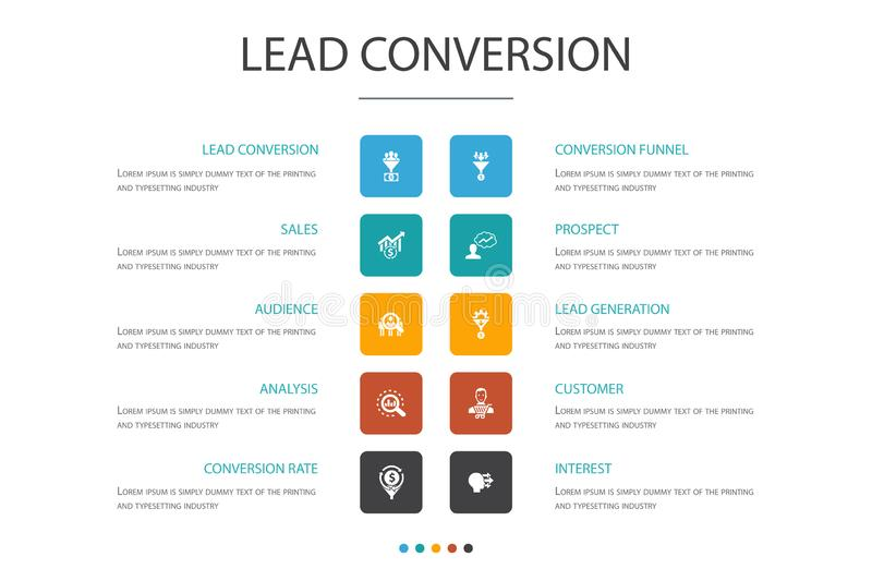 Lead conversion Infographic cloud design. Template.sales, analysis, prospect, customer simple icons stock illustration