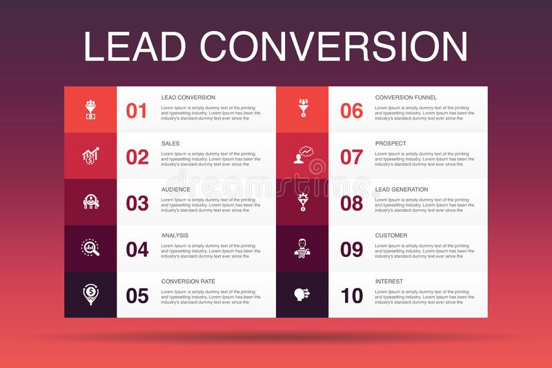 Lead conversion Infographic 10 option. Template.sales, analysis, prospect, customer simple icons stock illustration