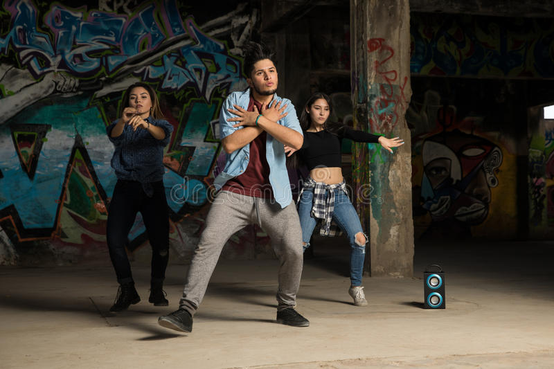 Lead dancer performing with crew royalty free stock photos