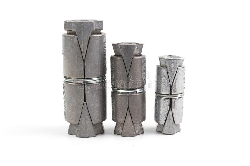 Lead Double Expansion Anchor or Expansion Bolt. Set different size of Lead Double Expansion Anchor or Expansion Bolt for anchoring into concrete brick or block stock photography