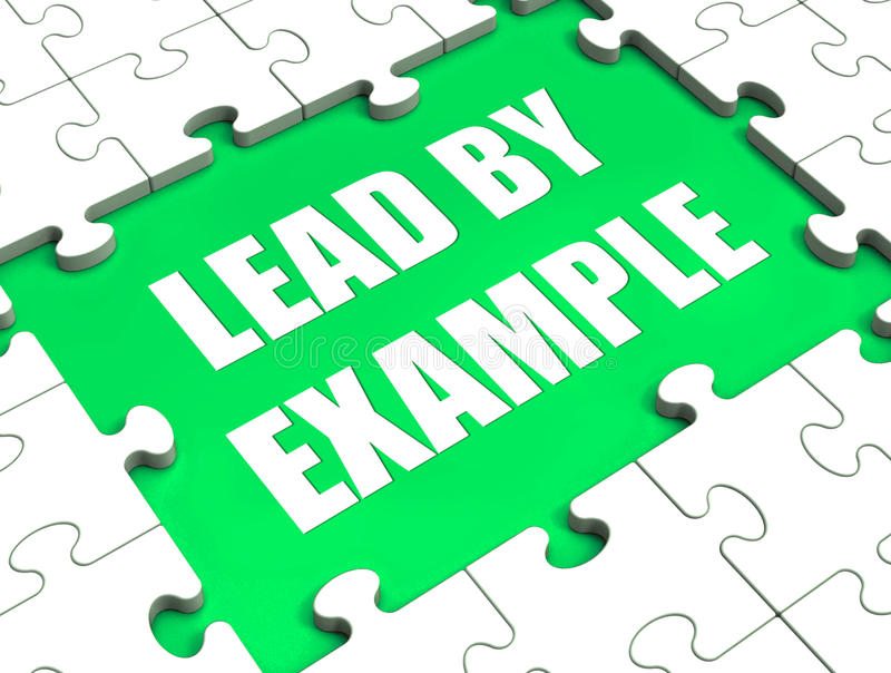 Lead by Example Puzzle Shows Leading Leadership. Lead by Example Puzzle Showing Leading Leadership stock illustration
