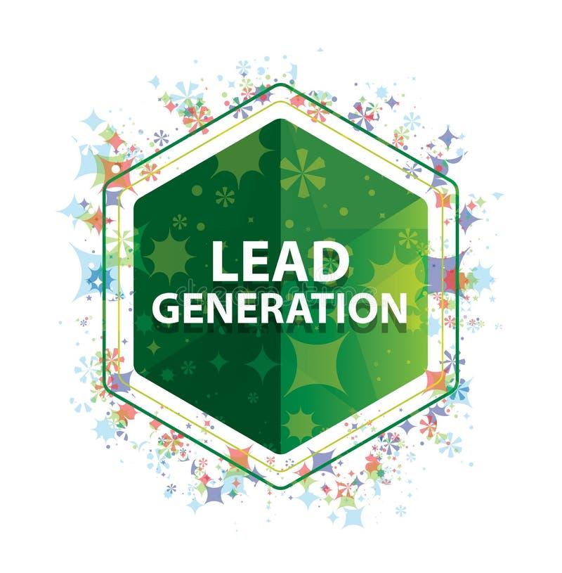 Lead Generation floral plants pattern green hexagon button. Lead Generation Isolated on floral plants pattern green hexagon button royalty free illustration