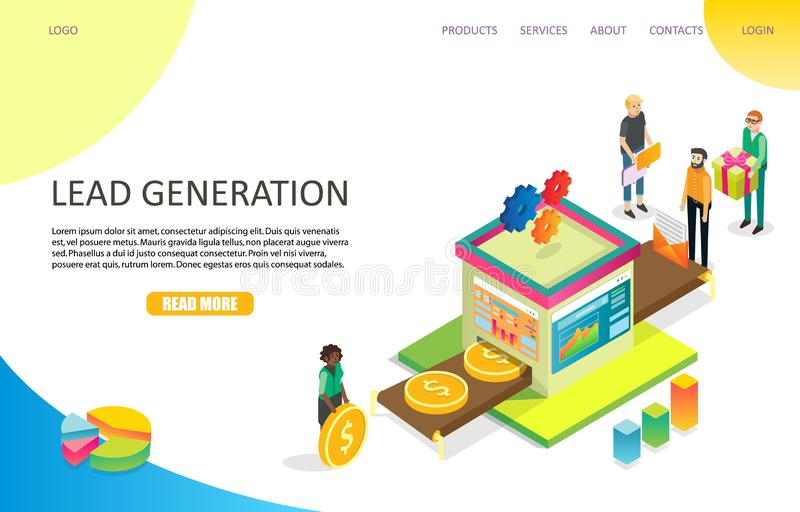 Lead generation landing page website vector template. Lead generation landing page website template. Vector isometric illustration. Lead management, purchase royalty free illustration