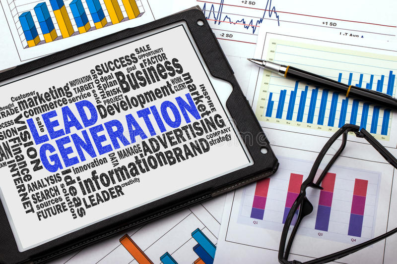 Lead generation word cloud. With related tags stock photography