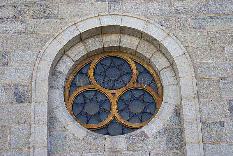 Lead Glass Church Window Detail. Dutch Reformed Church, Cradock, South Africa. The window detail of the the church building on the main road in the center of the stock photos