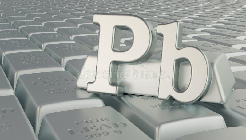 Lead ingots background with Pb symbol. 3D rendering vector illustration