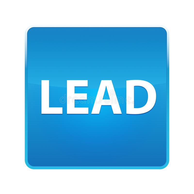 Lead shiny blue square button. Lead Isolated on shiny blue square button stock illustration
