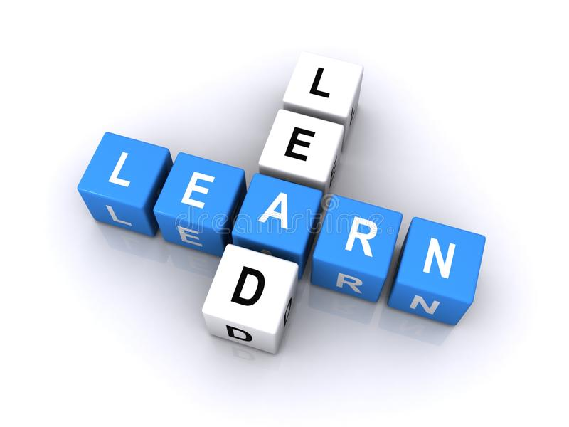 Lead and learn word cubes. The words lead and learn spelled out in letter cubes royalty free stock photography