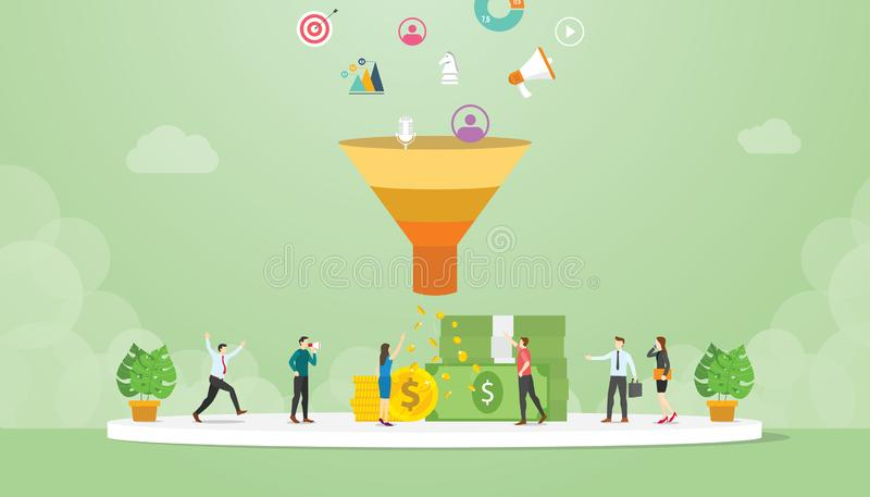 Lead management strategy business concept with marketing sales funnel team people - vector stock illustration