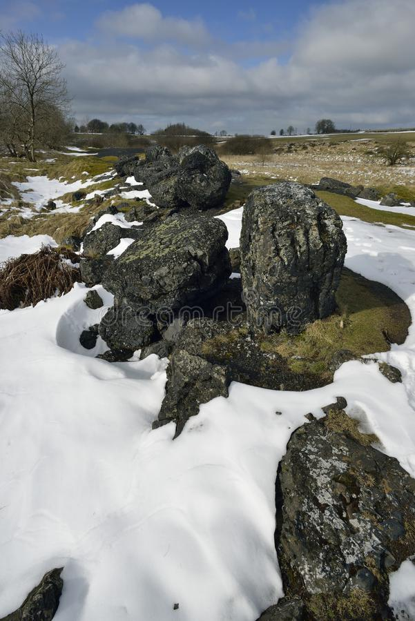 Lead Mining Spoil in Snow. Charterhouse, Mendip Hills stock photography