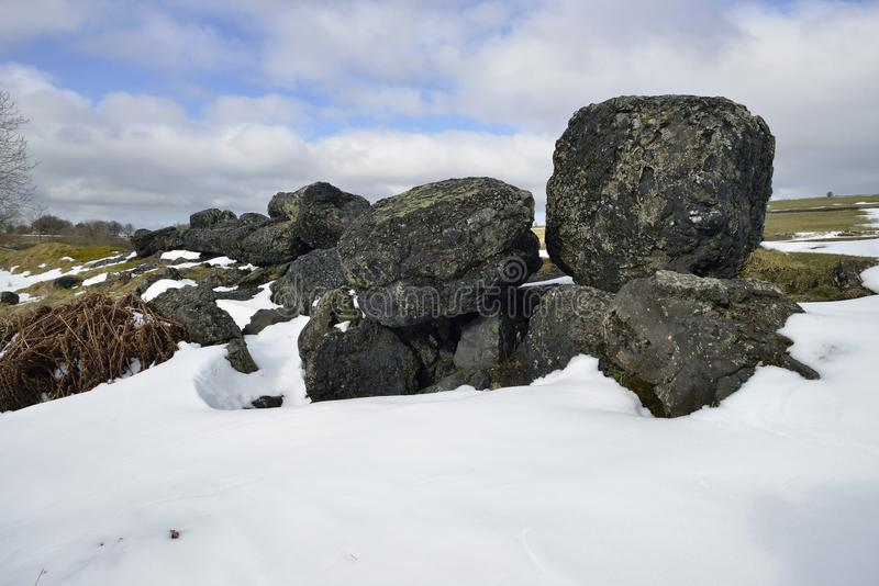 Lead Mining Spoil in Snow. Charterhouse, Mendip Hills royalty free stock photography