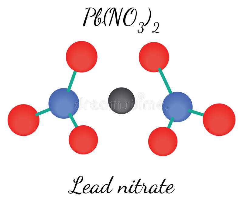 Lead nitrate PbN2O6 molecule. Lead nitrate PbN2O6molecule isolated on white in vector royalty free illustration