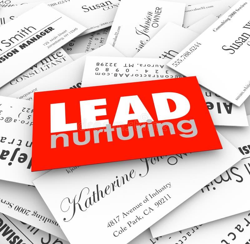Lead Nurturing Business Cards Sales Funnel Prospects Customers. Lead Nurturing words on business cards to illustrate a sales funnel or process for managing stock illustration