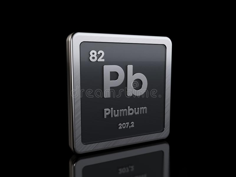 Lead Pb, element symbol from periodic table series stock illustration