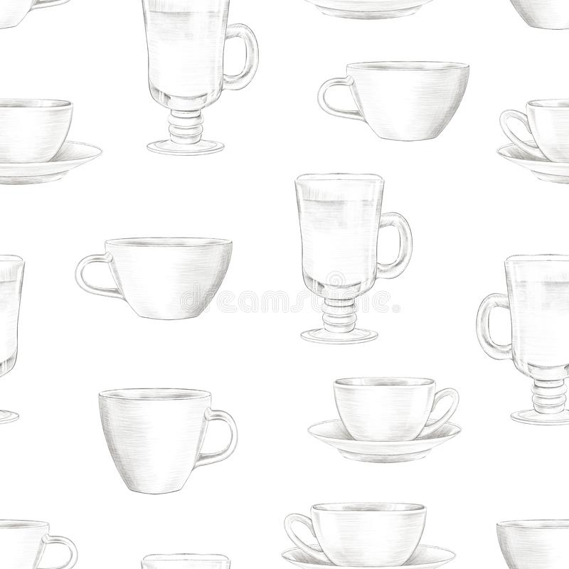Lead pencil graphic seamless pattern with various cups vector illustration