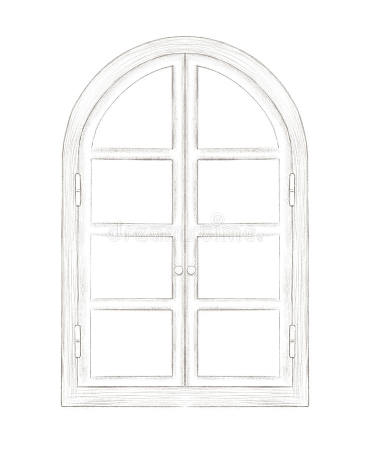 Lead pencil sketch of classic arch window royalty free illustration