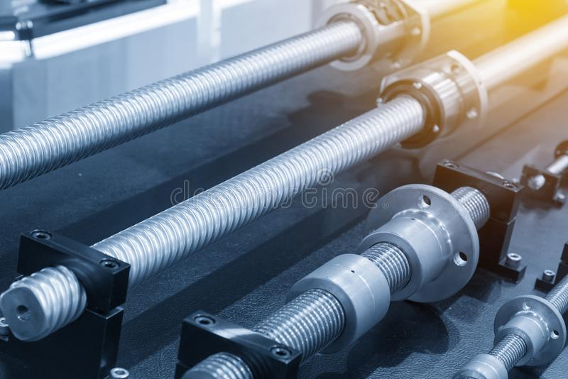The lead shaft spare part. Of CNC machine royalty free stock images