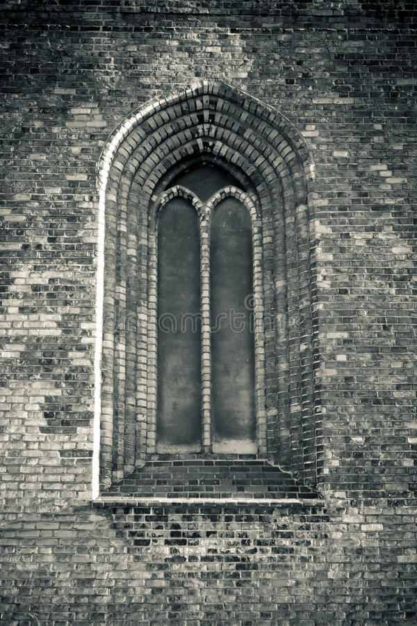 Leaded window of Aarhus Cathedral, Denmark royalty free stock photo