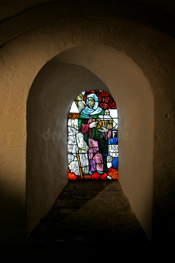 Leaded window in a niche stock photos