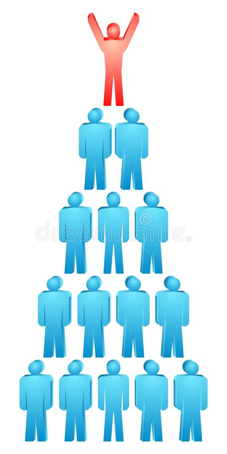 Leader. Vector group of people pyramid stock illustration
