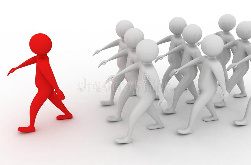 The leader. People are walking behind the red leader stock illustration