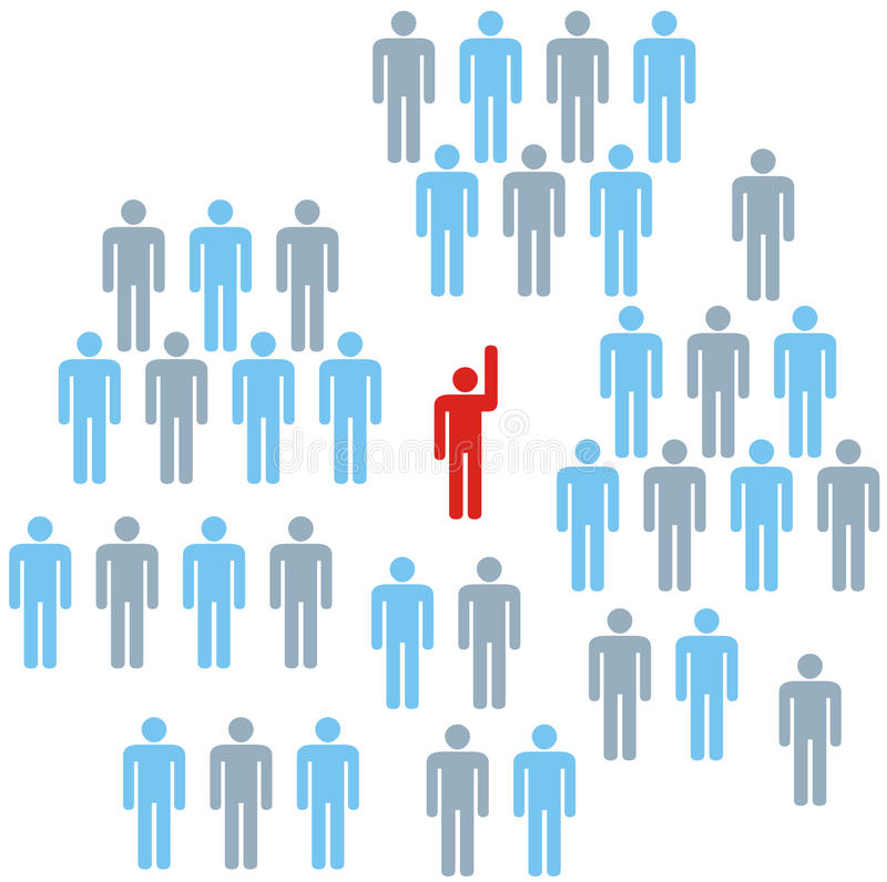 Leader. At front of a team group company congregation corporation or population of symbol people royalty free illustration