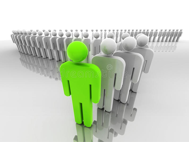 Leader. Concept of leadership represented by a line of people in 3d with the leader at front stock illustration