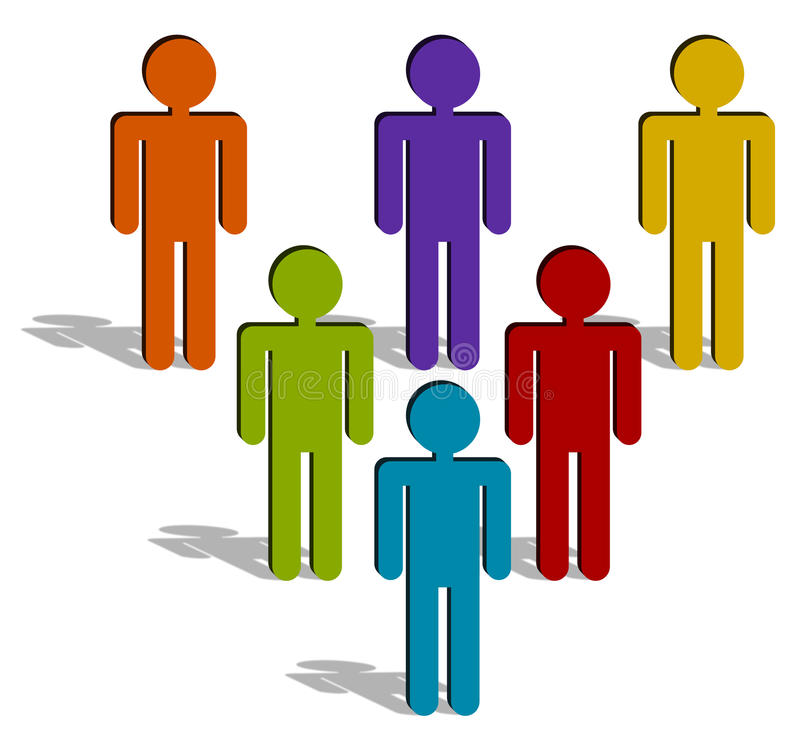 The leader. Group of man icons in a triangular formation, the colored blue one symbolizes its' leader royalty free illustration