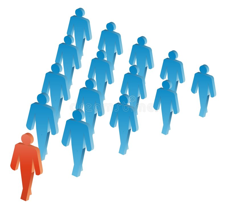Leader. Vector group of people illustration in blue and red vector illustration