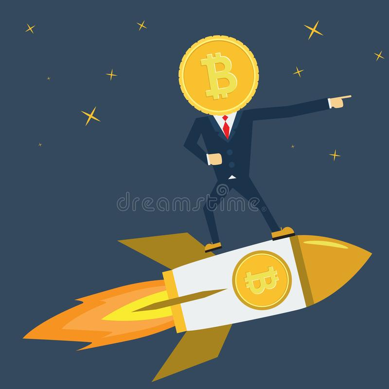 Leader Bitcoin character is on Rocket ship flying with success. Developement concept. stock illustration