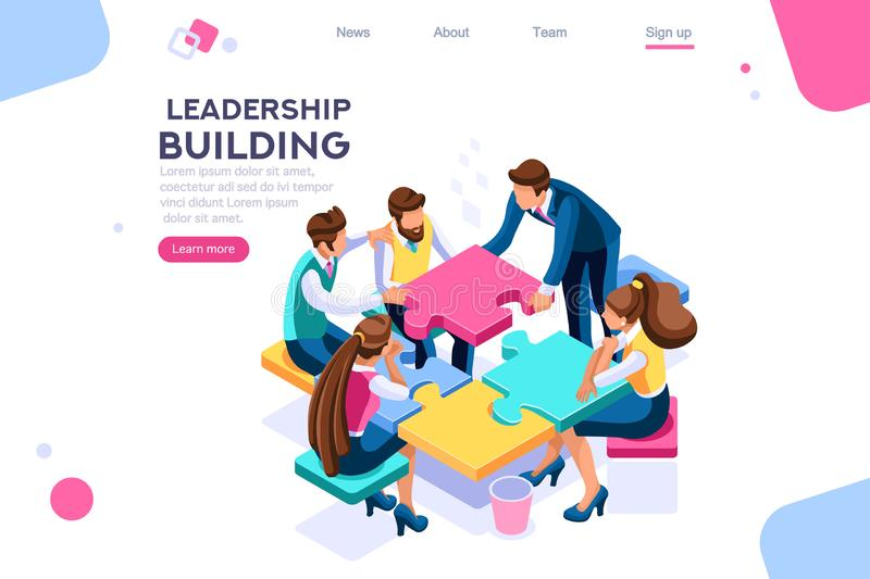 Leader Business Puzzle Building Process vector illustration