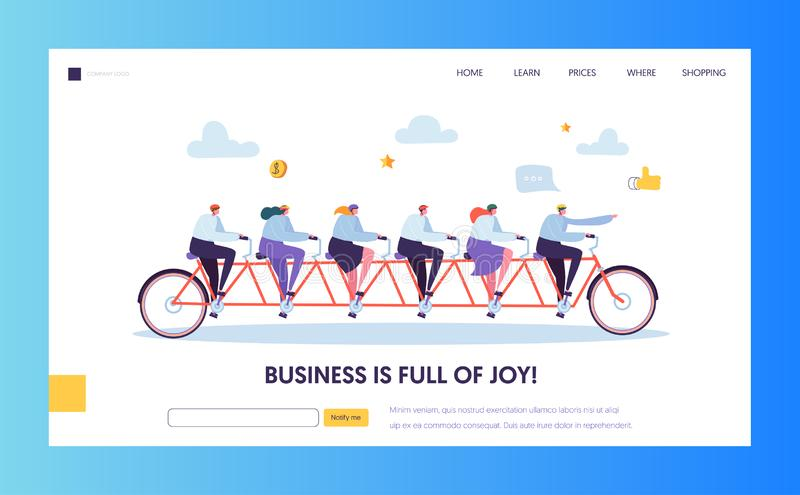 Leader Businessman Pointing Forward Direction Landing Page. Team on Bike Following CEO to Success Target vector illustration